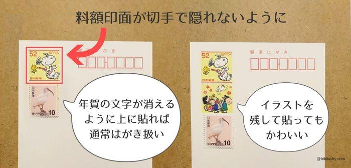 年賀はがきに10円切手を貼る位置