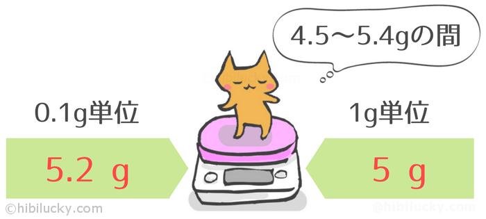 キッチンスケールの単位は0.1gまで必要か考えているネコ