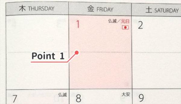 月間カレンダーのポイント1