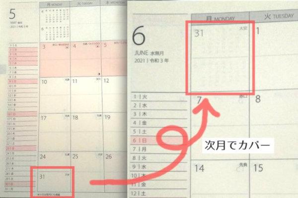 プラチナダイアリーの月間カレンダー5週