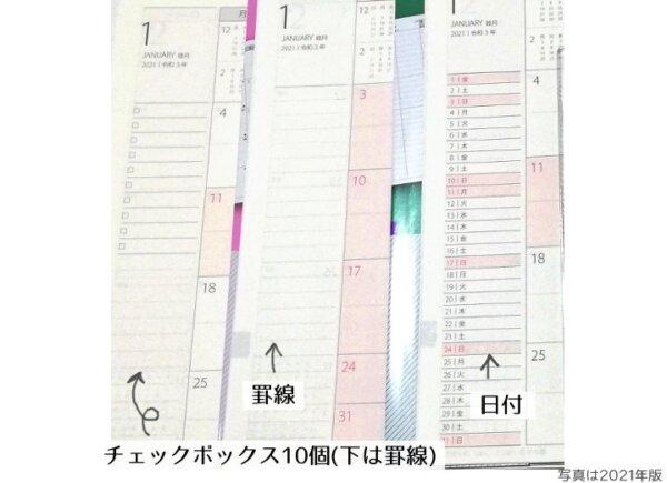 プラチナダイアリーの月間カレンダー左端の違い