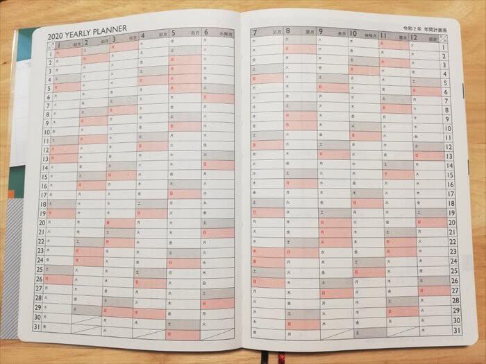 プラチナダイアリー年間スケジュールページ