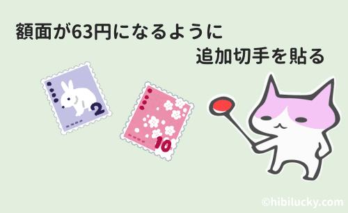額面が63円になるように追加切手を貼る