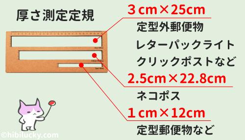 厚さ測るスケールの穴の対応物